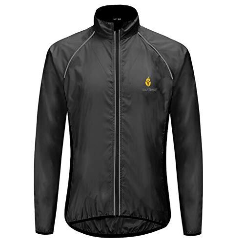 WEIWEI Men's Cycling Jacket Windproof Waterproof Outdoor Lightweight Rainwear Reflective Long Sleeve 5 Color Mountain Bike Coat,Black,XXL