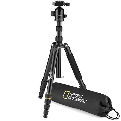 National Geographic NGTR002T - Travel Kit Treppiede con Monopiede, Alluminio, Gambe 5 Sezioni, Twist Lock, Sacca Trasporto, Carico Fino a 8 kg, Testa a Sfera, Sgancio Rapido, Nero