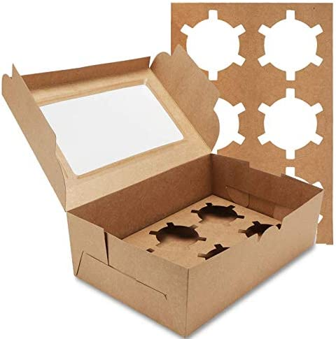 Farielyn X 30 Packs Kraft Cupcake Boxes Food Grade Kraft Bakery Boxes with Inserts and Display product image