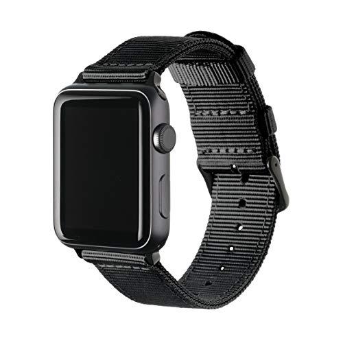 Archer Watch Straps - Nylon Uhrenarmband für Apple Watch - Schwarz/Schwarz, 38/40mm