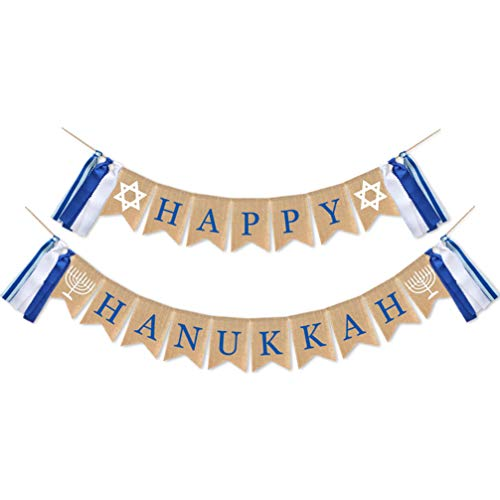 PRETYZOOM Happy Hanukkah Banner Burlap Bunting Garland Chanukah Party Banner for Holiday Chanukah Party Supplies Favors