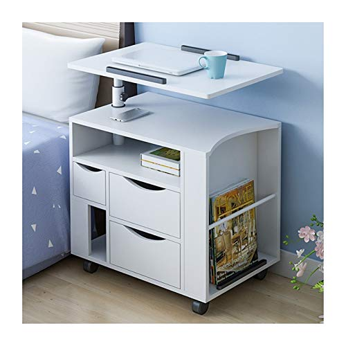 Laptop Desk Cart Mobile Lap Table, Days Overbed Table, Multifunction, Adjustable Height And Angle Computer side table (Color : White)