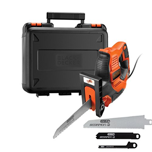 BLACK+DECKER 500 W Autoselect Scorpion-Powered Electric Saw Jigsaw and Prune with Kitbox, 3 Blades, 23mm Stroke Length, RS890K-GB
