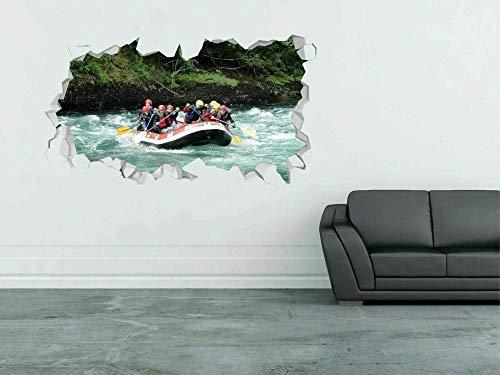 vzvzv Etiqueta Engomada De La Pared Efecto 3D Canoe Action 12x20inch(30x50cm) Decoración de Papel Tapiz Ilusión óptica Dormitorios y Sala de Estar