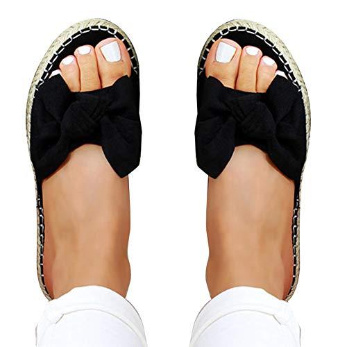 KingbeefLIU Zapatillas Mujer Color Sólido Estampado De Leopardo Bowknot Antideslizante Zapatillas De Punta Abierta Sandalias Planas Negro 42