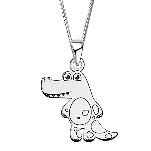 Kinder Kette mit Anhänger echt 925 Sterling Silber Mädchen Halskette Gravur Baby Krokodil Dino Dinosaurier A25Ko + 40cm