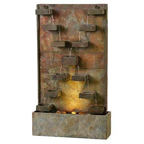 Kenroy Home 51033SL Voyage Indoor/Outdoor Floor Fountain with Light, 33 Inch Height, Natural Slate