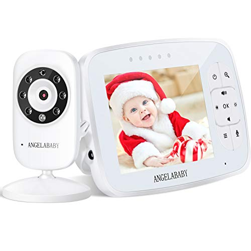 "Baby Monitor, ANGELABABY 3.5"" Wireless Video Baby Monitorwith Camera and Audio, 2-Way Talk, ECO Model, Temperature Monitor, Lullabies,1000ft Range, Night Vision (3.5 Baby Monitor with 1 Camera) Monitors"