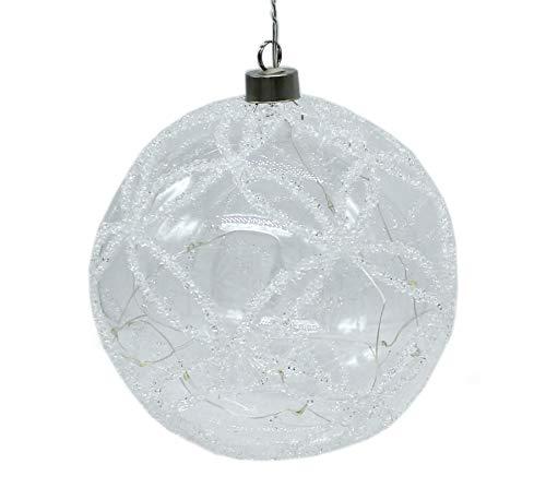 DARO DEKO Glas Weihnachts-Kugel Ø15cm mit 15 LED und Kristall-Diamant Verzierungen 1 Stück