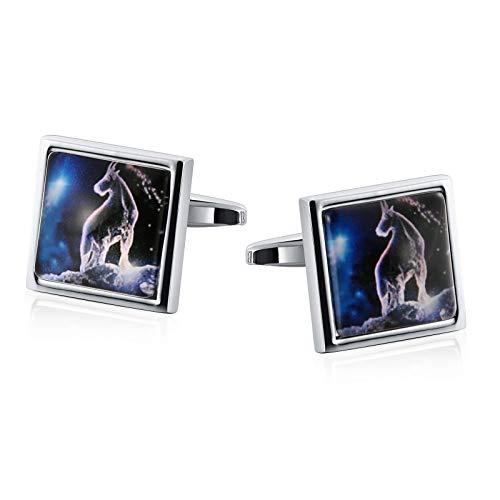 Epinki Herren Manschettenknöpfe Quadrat Luminous Konstellation Form Hochzeit Manschette Links Silber