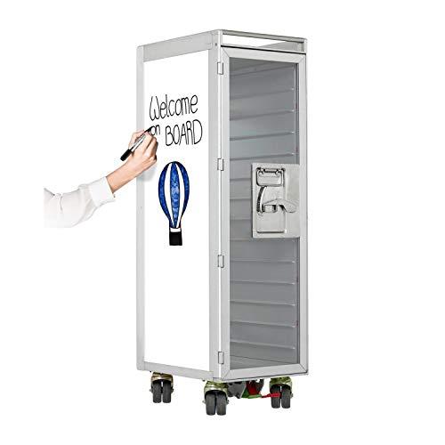 Bartrolley Whiteboard (neue Rollen) inkl. LED Fachboden, Barbrett & Fachboden aus Glas, Gebrauchter Trolley aus der Luftfahrt - Top restauriert, Flugzeugtrolley Bar, Whiteboard-Dekor zum Beschriften
