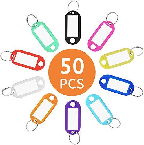 Llaveros con Etiqueta,50 Unidades Llavero con Anillo de Plástico ID Llaveros para Hotel Escuela de Oficina EquipajeHogar 10 Colore
