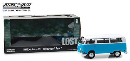 Modello DieCast DHARMA VAN Furgoncino Dal Telefilm LOST Volkswagen 1971 Type 2 Bus - SCALA 1/24 DieCast Greenlight