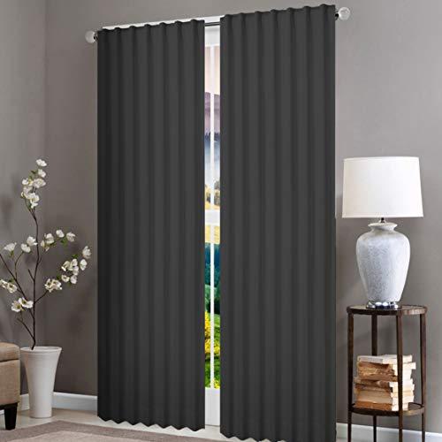 Native Fab 2 paneles 100% algodón lavable cortinas de ventana para sala de estar, cocina, habitación de los niños, dormitorio, 132 x 244 cm, cortinas de caída de 96 pulgadas, color gris