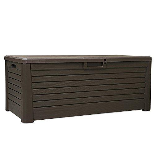Oskar Kissenbox Kunststoff 550L Braun wasserdicht Auflagenbox Gartenbox Gartentruhe Aufbewahrungsbox