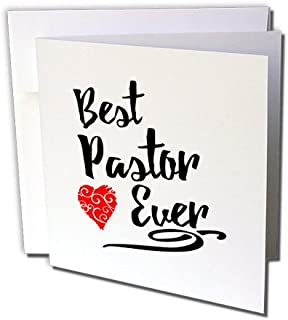 3dRose Best Pastor Ever Design in Black Script with Red Heart Motif - Greeting Card, 6