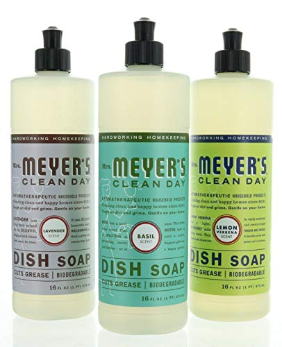 A Mrs Meyer's Liquid Dish Soap Variety 3 Pack 16 oz Each Lemon, Lavender, Basil