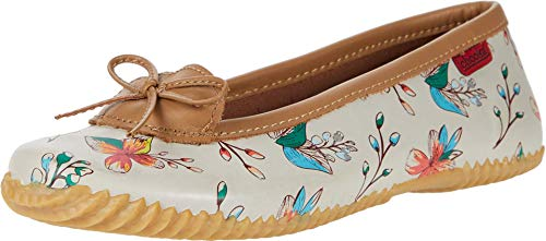 Chooka unisex adult Tropics Skimmer Ballet Flat, Cream, 10 US