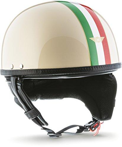 """Moto Helmets® D22 """"Italy"""" · Brain-Cap · Halbschale Jet-Helm Motorrad-Helm Roller-Helm Retro · Fiberglas Schnellverschluss SlimShell Tasche L (59-60cm)"""