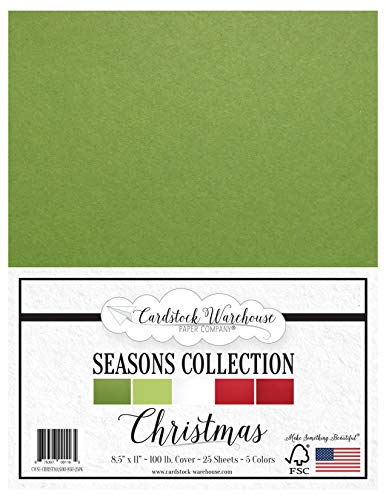 Christmas Seasons Collection - Red, Green and White Multi-Pack Assortment - 8.5 x 11 inch 100 lb Cover Cardstock - 25 Sheets from Cardstock Warehouse