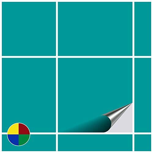 FoLIESEN Adhesivo para Azulejos para baño y Cocina–20x 20cm–Turquesa Brillante–10Adhesivos para Azulejos para Pared Azulejos
