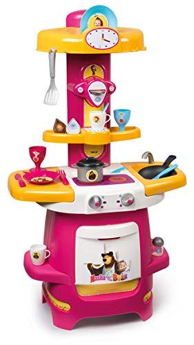 Smoby 310710 Masha e Orso Cucina, 22 Accessori, Giocattolo di Imitazione per Bambini, a Partire dai 18 Mesi
