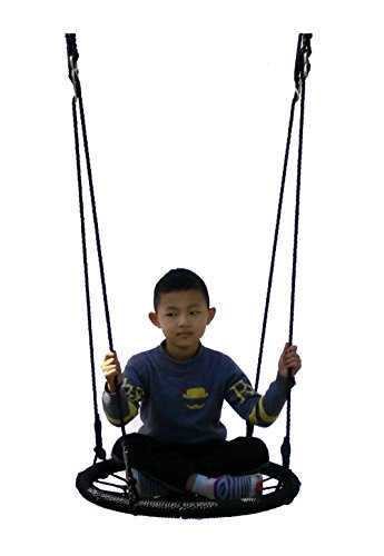 Children Tree Net Swing Black Max Weight 666 lbs Adjustable Hanging Ropes Fully Assembled Tree Swing