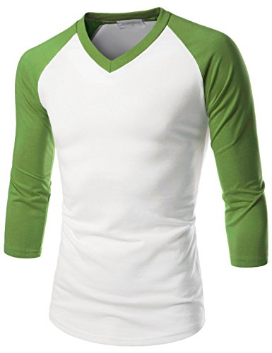 TheLees (NKR7T621 Prime Unisex Slim Fit 3/4 Raglan Sleeve V-Neck T-Shirts WHITEGREEN US XS(Tag Size S)