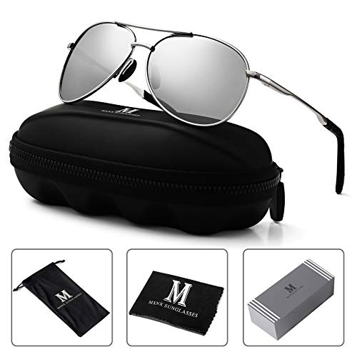 Aviator Sunglasses for Men Polarized Women -MXNX UV Protection Lightweight Driving Fishing Sports Mens Sunglasses MX208 (9-Silver Frame/Mirror Silver Lens)
