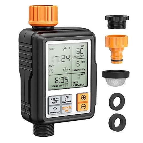 Madeinely Temporizador automático de agua 3/4 ''IP65 impermeable automático de riego de agua temporizador manguera temporizador temporizador de riego digital W/pantalla LCD Ordenadores de riego