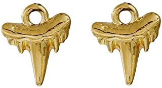 PEPPERLONELY 30pc Plated Gold Alloy Shark Teeth Charms Pendants 13x11mm (1/2