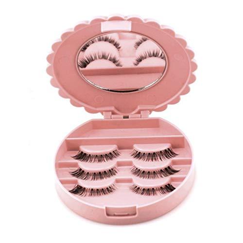 FBGood Boîte de Rangement pour Faux Cils - Acrylique Mignon Arc Faux Cils Boîte De Rangement Maquillage Cosmétique Miroir Cas Organisateur (Rose)