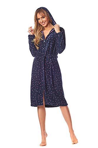 L&L - 9156 Long Luxury Toweling Damen Weicher Langarm Bademantel. Extrem Leicht. Hausmantel mit Reißverschluss in Voller Länge mit Kapuze für Damen. (Navy Blue, Large)