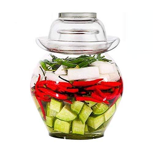HIGHKAS Vorratsglas, Fermentationsglas, Easy Open Wide Mouth Deckel und Silikondichtung, ideal für Sauerkraut und Kimchi (2,5 Liter)