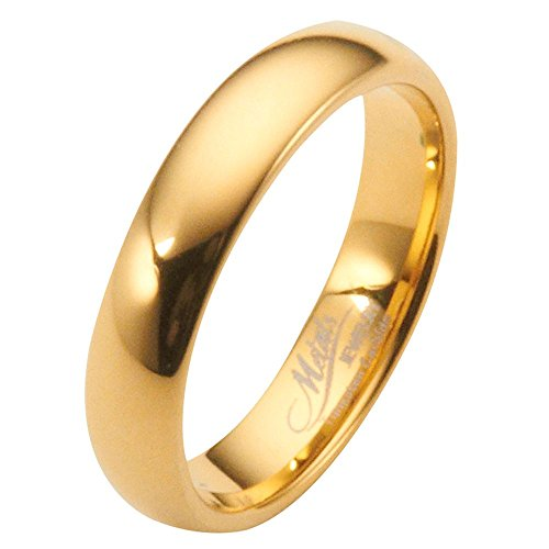 MJ Metals Jewelry 6mm Gold Plated Polished Tungsten Carbide Wedding Ring Classic Half Dome Band Size 9.5