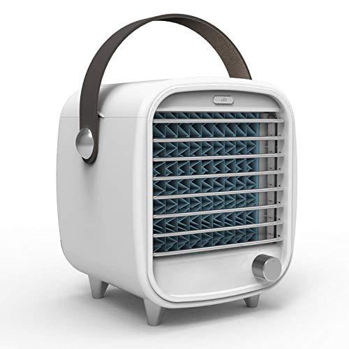 Pequeño ventilador portátil fresco aire acondicionado de escritorio mini ventilador USB de escritorio LED para barbacoa exterior aire acondicionado lazo, plástico, blanco
