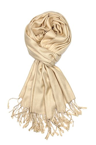Achillea Large Soft Silky Pashmina Shawl Wrap Scarf in Solid Colors (Champagne)