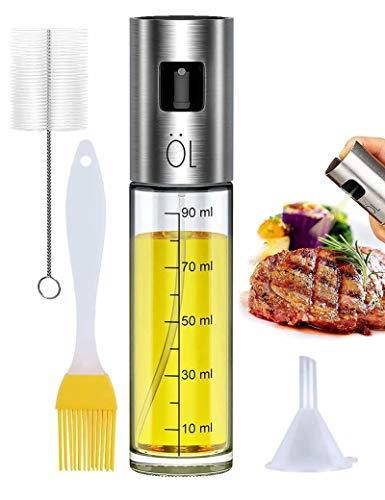 Pulverizador Spray Oliva Aceite, Premium 304 Acero Inoxidable Botellas de vidrio de grado alimenticio 100 ML con Pinceles y Embudo para Cocina, Barbacoa, Hornear, Ensalada