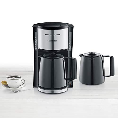 SEVERIN KA 9253 Filterkaffeemaschine mit 2 Thermokannen, ca. 1.000 W, bis 8 Tassen, Schwenkfilter 1 x 4 mit Tropfverschluss, automatische Abschaltung, Durchbrühdeckel