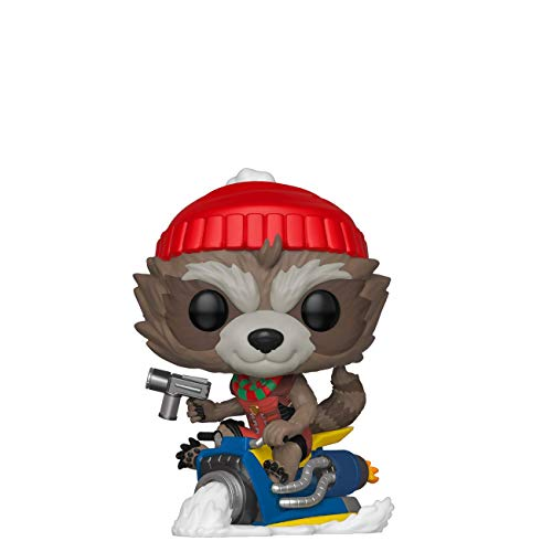 Funko Pop Bobble Vinyle Marvel: Holiday-Rocket Figurine de Collection, 43334, Multicolore, Taille Unique