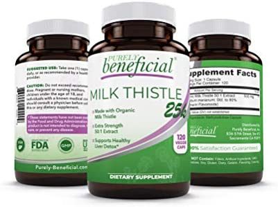 Organic Milk Thistle Capsules 25 000 MG Strength 50X Concentrated Seed Extract 80 Silymarin product image