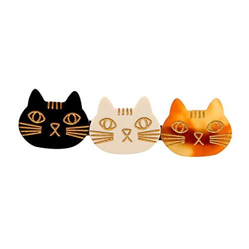 Generic Grampos de Cabelo de Três Gatos para Garotas Femininas - Preto Branco Amarelo