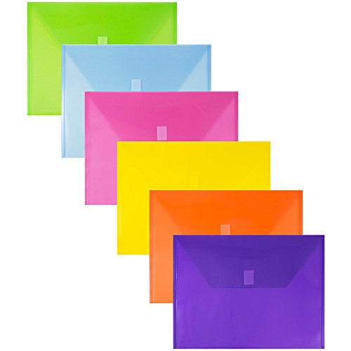 JAM PAPER Plastic Envelopes with Hook & Loop Closure - Letter Booklet - 9 3/4 x 13 - Assorted Colors - 6/Pack