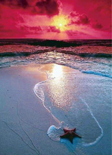 N\A Punto de Cruz Diamante Kit 3D DIY Diamante Pintura Bordado Diamante Punto de Cruz Amanecer Playa Regalo decoración del hogar Sala de Estar sin Marco 30 * 40 cm