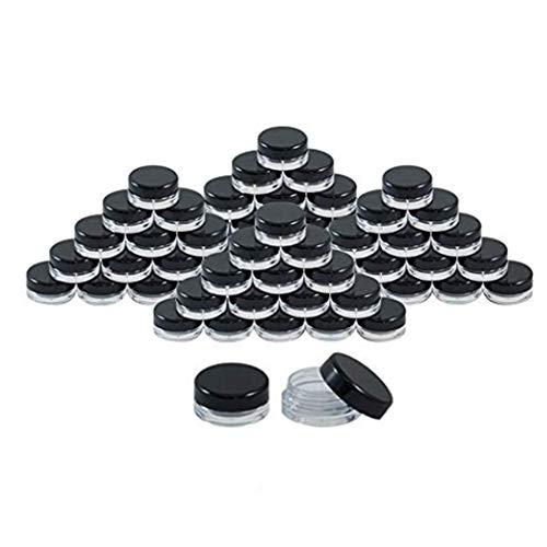 50pcs cosmética Tarro vacío del envase del pote de contenedores crema redonda con tapas negras para Cosmética Lip Balm Lip Gloss 5g (Negro)