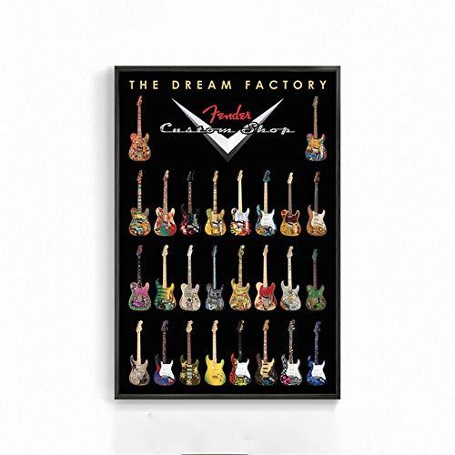 zxddzl Leinwand Malerei Kaffee Wandkunst Musik Bar Pop Gitarre Rock Poster Rekord Wandbild Café Wohnzimmer Wandbild Dekoration