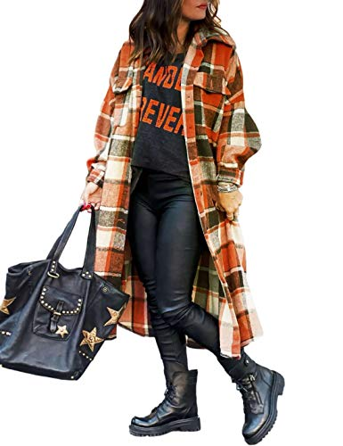 Uaneo Womens Casual Plaid Button Down Long Puff Sleeve Long Trench Coats Shackets(Red-L)