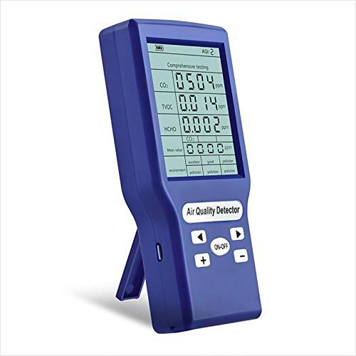 XIANLIAN Detector de dióxido de Carbono Multifuncional, medidores de CO2 Ppm Mini Detector de dióxido de Carbono, Monitor de medidor de Calidad del Aire, Detector de dióxido de Carbono TVOC HCHO AQI