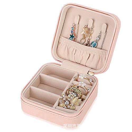 Caja de almacenamiento de joyas de piel sintética con diseño de puntos, caja de almacenamiento portátil, 10 x 10 x 5 cm.