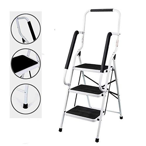 3 Stufen Leiter Trittleiter Klappbar mit Geländer Sicherheitshandläufe Klappsicherung Faltschritt Platzsparende Tragfähigkeit 330 lbs